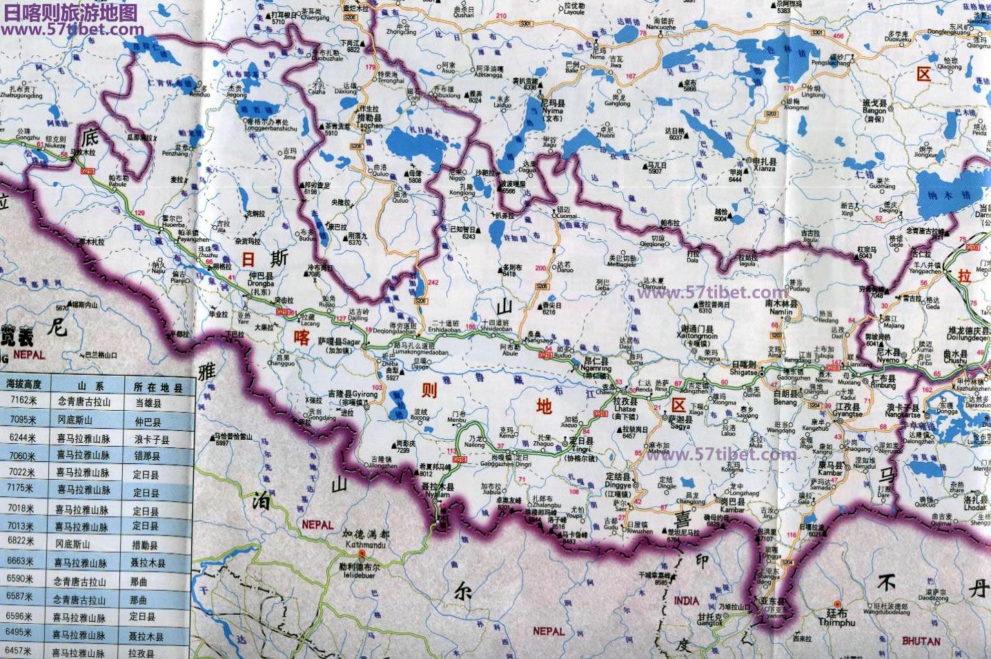 日喀则地图(中印边界图)