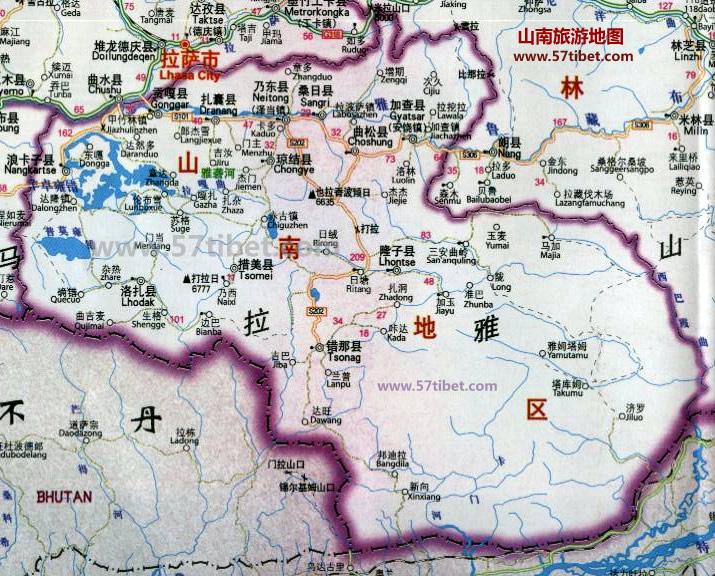 地图 山南/山南行政地图,山南旅游地图